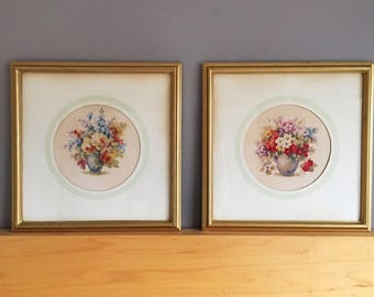 Set of Framed Prints, Floral Prints,