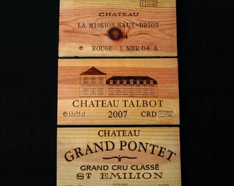 Genuine French wooden wine crate panels - wine box panel - set of 3