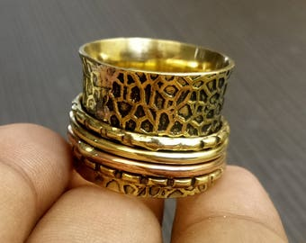 Hand crafted spinner rings | Texture brass rings | Fidget bands ring | Worry Rings | Banjara Style Rings | Girl Everyday jewelry rings | R73