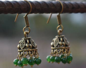 Green Onyx beads jhumka earrings | Indian fusion jewelry | Dangle round earring jhumka | Brass tribal earrings | Gift jewelry for her | E107
