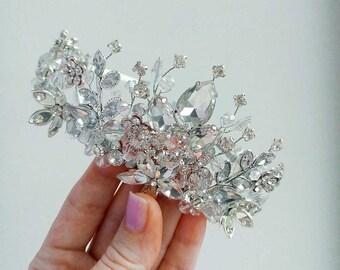 FREE SHIPPING!!Crystal tiara Wedding crown Bridal tiara Silver hair accessory Bridal crown Wedding tiara Rhinestones jewelry Crystal crown 1