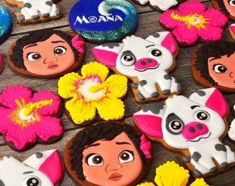 MOANA cookies // Maui cookies, Hawaiian cookies, luau cookies, pua cookies, Disney cookies, Disney party favors , Moana party favors