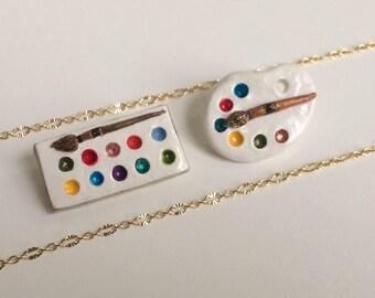 Art Pallet Necklace, Paint Necklace, Artist Necklace