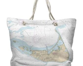 MA: Nantucket, MA Nautical Chart Tote Bag