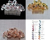 Silver, Yellow or Rose Gold Choose Your Accent Colour Vintage Inspired Crystal Rhinestone and Pearl Hair Comb, Bridal, Wedding (Pearl-761)