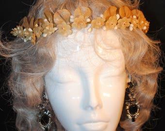 Romantic 1920s Wedding Tiara Bridal Wax Petaled Blossoms Headpiece
