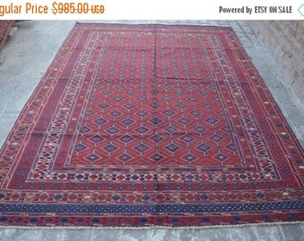 BIG SALE Hand Knotted Vintage area rug, 9 x 6'9 ft