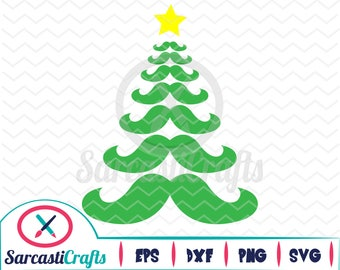 Tree Stache - Christmas/Holiday Graphic - Digital download - svg - eps - png - dxf - Cricut - Cameo - Files for cutting machine