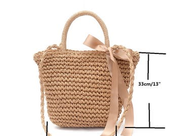 Woven Straw Bag with  bow ribbon decor Shoulder Bag