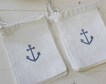 100 Wedding beach anchor muslin cotton favor bags 5x7 inch - party bags, goodie bags, gift bags, favor bags, cotton pouch
