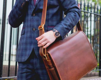 Mens leather messenger bag Leather Laptop Satchel Bag  - Niche Lane Ryton Coffee