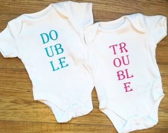Double Trouble, twin vests, twin set, twin clothing, twin baby clothing, novelty twin set, baby twin set, baby shower gift, new baby gift