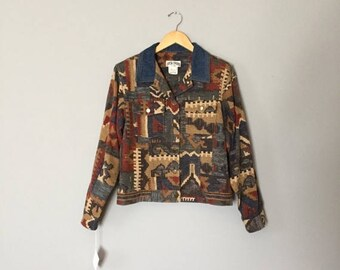 20% OFF SALE... aztec print crop jacket | denim collar | cuffed sleeves jacket