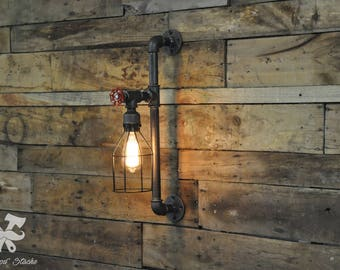 Wall lamp, Wall Sconce, vintage, designer, industrial, industrial light cage wall light fixture, lamp, Steampunk, Ironwoodstache
