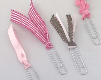 Ribbon Planner Binder Clips Pink and Brown Back To School Girly Home Office School Supplies Ready to Ship Badass Girls Organize