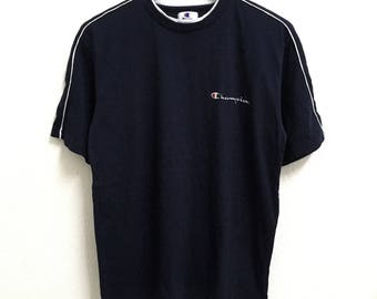 RARE!!! Champion Small Logo Embroidery Crew Neck Dark Blue Colour T-Shirts M Size
