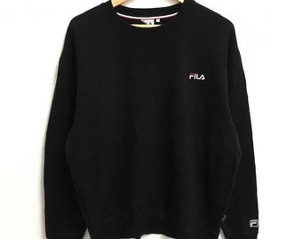 RARE!!! Fila Small Logo Embroidery Crew Neck Black Colour Sweatshirts Hip Hop Swag LL Size