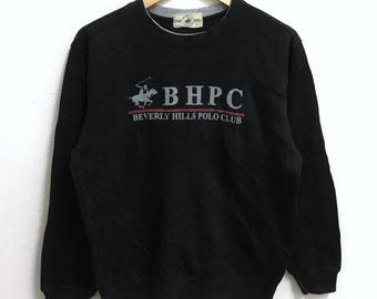 RARE!!! Beverly Hills Polo Club Big Logo Crew Neck Black Colour Sweatshirts Hip Hop Swag L Fit M Size