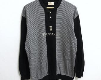 RARE!!! TRUSSARDI Big Logo Embroidery Crew Beck Button Down Black Colour Sweatshirts Hip Hop Swag M Size