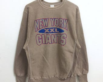 RARE!!! Champion Reverse Weave New York Giants Big Logo Crew Neck Brown Colour Sweatshirts Hip Hop Swag XL Size