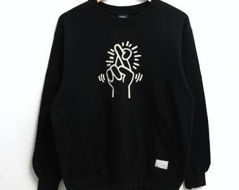 RARE!!! Keith Haring PopArt Big Logo Crew Neck Black Colour Sweatshirts Hip Hop L Size