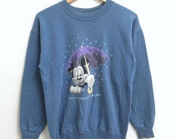 RARE!!! Vintage Mickey Mouse Cartoon Disneyland Big Logo Crew Neck Sweatshirts Hip Hop Swag S Size