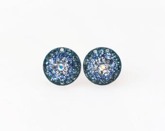 Sterling Silver Stud Earrings, Swarovsky Crystals, Blue Gradational Pattern, Navy, Sappire, Aquamarine Color, Unique BlingBling Korean Style