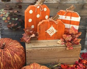 Cute Wood Painted Pumpkins