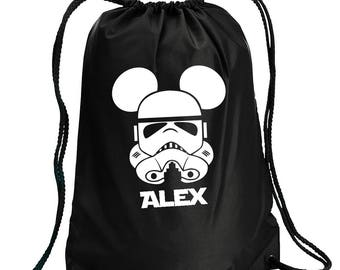 Disney Backpack,Storm Trooper,Star Wars Inspired Bag,drawstring bag,Disney Bag,Storm Trooper Day Bag,Disney bag,Mickey Drawstring bag