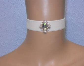 Cream Velvet Choker With Rainbow Diamante Jewel Prom Wedding FREE GIFT BOX Gothic Bride