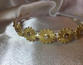 Gold Bridesmaid hair band, Bridesmaid hair accessories,Hair piece, Head band, Bridal, Wedding, flower girl accessories, First Communion