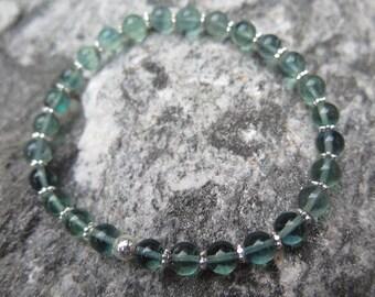 Fluorite bracelet blue with 925 Silver, 6 mm with 925 Oriental silver