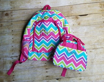 Monogrammed Multi Pink Chevron Backpack and Lunch Bag