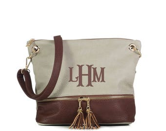 Monogrammed 2 toned zippered tassel Cross body - Grey/Coffee-Personalized purse