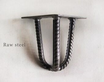 "4″ (10cm) 3 Rod Hairpin Legs. Raw Steel Rebar 3/8"" (10mm) Diameter. Bed legs. Cabinet legs. Sofa legs. TV legs. Industrial legs. SET OF 4"