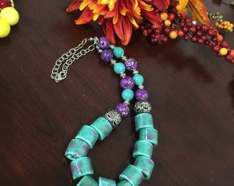 Necklace with Stone ,plastic and silver beads with matching earrings! Text 770 731-3422 for more photos from my Collection .
