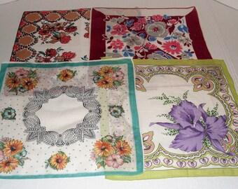 24)  Four Vintage Hankies.  Handkerchiefs.  Purple Iris.   Floral Hankies.