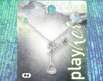 Customizable Lacrosse Stick Goalie Necklace - Personalize with Jersey Number, Heart Charm, or Letter Charm! Great Lacrosse Gift!