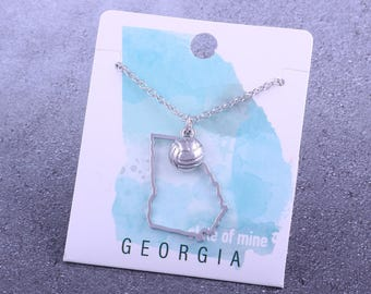Customizable! State of Mine: Georgia Volleyball Silver Necklace - Great Volleyball Gift!