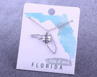 Customizable! State of Mine: Florida Basketball Silver Necklace - Great Basketball Gift!