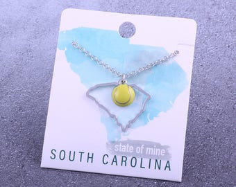 Customizable! State of Mine: South Carolina Tennis Enamel Necklace - Great Tennis Gift!