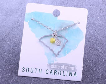 Customizable! State of Mine: South Carolina Tennis Racket Necklace - Great Tennis Gift!