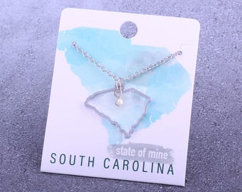 Customizable! State of Mine: South Carolina Silver Necklace - Great Gift!