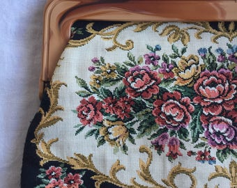 Floral tapestry clutch