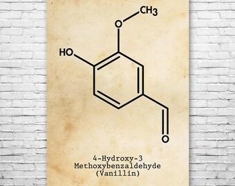 Vanillin Molecule Vanilla Extract Poster Science Print Gift FREE SHIPPING, Vanillin, Vanilla Bean, Vanilla Flavor, Chemistry, Chemistry Art