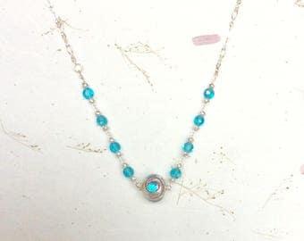 Blue Dot Necklace, Murano Necklace, Murano Bead, Beaded Necklace, Blue Necklace, Vintage Crystal Necklace