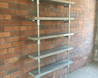 Primo Industrial adjustable wall shelving unit - reclaimed scaffold grey