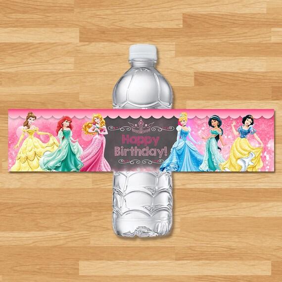 Disney Princess Drink Labels - Chalkboard - Disney Princess Water Bottle Labels - Princess Drink Wrap - Princess Printables - Princess Party