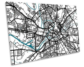 Manchester Map City Minimalistic Modern CANVAS WALL ART Print Picture