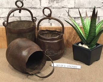 Set of 3 vintage Indian iron cooking pots - suitable for display or as a unique flower pot - VTICP001